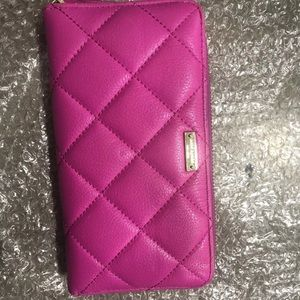 Kate Spade Pink Fushia Neon Pebble Around Wallet